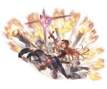 1girl 3boys backless_outfit blue_eyes boots breasts cape collar crowd firing granblue_fantasy gun hat knee_boots kneehighs lecia_(granblue_fantasy) minaba_hideo miniskirt multiple_boys navel navel_cutout official_art open_mouth orange_hair pointing_sword puffy_sleeves see-through_sleeves skirt small_breasts sword weapon