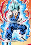 1boy aura blue_eyes blue_hair clenched_teeth closed_mouth commentary_request dragon_ball dragon_ball_super earrings fighting_stance gloves highres jewelry looking_at_viewer male_focus muscle potara_earrings smile solo spiky_hair super_saiyan_blue teeth vegetto white_footwear white_gloves youngjijii