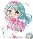 2girls alternate_costume aqua_hair back_bow bang_dream! bangs blush bow bowtie collared_dress commentary_request dress embarrassed eyebrows_visible_through_hair flying_sweatdrops frilled_dress frilled_legwear frills full_body green_eyes green_jacket hair_between_eyes hairband hand_up hands_up highres hikawa_hina hikawa_sayo inset jacket lolita_fashion long_hair long_sleeves looking_at_viewer mary_janes multiple_girls nose_blush o_o open_mouth pink_bow pink_dress pink_footwear pink_hairband pink_ribbon ribbon ririumu shadow shoes short_hair siblings side_braids sidelocks simple_background sisters solo_focus speech_bubble standing standing_on_one_leg sweet_lolita swept_bangs thigh-highs translated twins wavy_mouth white_background white_legwear zettai_ryouiki