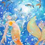 5girls artist_name bra highres liquid_hair looking_up mermaid monster_girl multiple_girls navel ocean summer sunlight swimming underwater underwear yellow_bra zlj