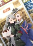 2girls :d annoyed azur_lane birthday black_scarf blonde_hair blue_capelet blue_eyes blue_shirt blue_skirt blurry blurry_background buttons cake capelet commentary cravat crossover earrings food fur fur_collar fur_trim girls_frontline gloves hand_on_another's_shoulder hands_up hat head_to_head highres holding hood_(azur_lane) jewelry long_hair long_sleeves looking_at_another merry_christmas mg4_(girls_frontline) military military_uniform multiple_girls open_clothes open_mouth outdoors pocket scarf shirt shiryuu_akira silver_hair skirt skirt_set smile uniform union_jack upper_body very_long_hair white_gloves white_hair white_shirt yellow_eyes