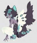 10r_(tulipano) 1girl animal_ear_fluff animal_ears black_hair black_pupils blue_eyes blue_nails boots choker copyright_request dark_skin flat_chest looking_to_the_side medium_hair open_mouth simple_background solo star-shaped_pupils star_(symbol) symbol-shaped_pupils tail