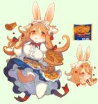 1girl animal_ears aoneko blush breasts brown_hair bunny_girl closed_eyes commentary_request copyright_request eating food furry green_background hair_between_eyes hand_on_own_cheek holding holding_food index_finger_raised large_breasts long_hair multiple_views orange_eyes pie rabbit rabbit_ears simple_background thigh-highs white_legwear yellow_fur