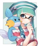 1girl bangs black_border blunt_bangs blunt_ends blush border closed_mouth company_connection dixie_cup_hat domino_mask gen_3_pokemon green_eyes green_hair green_headwear hat hat_ornament highres inkling long_sleeves looking_at_viewer mask medium_hair military_hat mudkip off_shoulder on_shoulder pointy_ears pokemon pokemon_(creature) pokemon_on_shoulder red_shirt shirt solo splatoon_(series) striped striped_headwear striped_shirt tentacle_hair upper_body yuzutouhu_ika