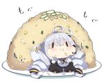 1girl :t antenna_hair bangs black_jacket braid breasts chibi closed_mouth commentary_request eating food food_on_face fried_rice hair_between_eyes hair_ornament headset in_food jacket kizuna_akari large_breasts long_hair long_sleeves milkpanda minigirl plate puffy_cheeks puffy_long_sleeves puffy_sleeves rice rice_on_face shirt silver_hair solid_oval_eyes solo twin_braids twintails very_long_hair voiceroid wavy_mouth white_background white_shirt
