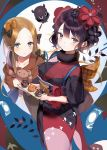 2girls 2sham abigail_williams_(fate/grand_order) absurdres alternate_costume animal bangs black_bow black_hair black_kimono blue_eyes blush bow brown_bow brown_hair brown_hoodie closed_mouth commentary_request eyebrows_visible_through_hair fate/grand_order fate_(series) hair_between_eyes hair_bow hair_ornament highres holding hood hood_down hoodie japanese_clothes katsushika_hokusai_(fate/grand_order) kimono long_hair looking_at_viewer multiple_girls object_hug octopus paintbrush parted_bangs polka_dot polka_dot_bow stuffed_animal stuffed_toy tasuki teddy_bear tokitarou_(fate/grand_order) very_long_hair
