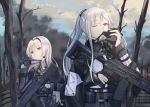 2girls absurdres ak-12 ak-12_(girls_frontline) an-94 an-94_(girls_frontline) artist_request assault_rifle blue_eyes eyebrows_visible_through_hair fire forest gas_mask girls_frontline gloves gun half_gloves highres multiple_girls nature one_eye_closed platinum_blonde_hair removing_mask rifle silver_hair snow tactical_clothes trigger_discipline violet_eyes weapon