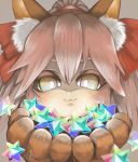 1girl :3 animal_ear_fluff animal_ears artist_request cat_paws commentary commentary_request fate/grand_order fate_(series) fox_ears fox_girl gloves hair_ribbon holding long_hair looking_at_viewer paw_gloves paws pink_hair ponytail red_ribbon ribbon saint_quartz solo stellated_octahedron tamamo_(fate)_(all) tamamo_cat_(fate) yellow_eyes