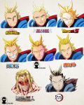 1boy a2twilldraw all_might antenna_hair bleach blonde_hair blue_eyes boku_no_hero_academia cape clenched_teeth closed_mouth dragon_ball dragon_ball_z english_commentary gotouge_koyoharu_(style) grin hair_slicked_back highres isayama_hajime_(style) kimetsu_no_yaiba kishimoto_masashi_(style) kubo_taito_(style) looking_at_viewer male_focus multiple_views naruto_(series) oda_eiichirou_(style) one_piece open_mouth parody red_cape serious shingeki_no_kyojin smile style_parody teeth titan_(shingeki_no_kyojin) toriyama_akira_(style) upper_body v-shaped_eyebrows