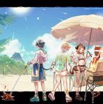 1girl 2boys absurdres alternate_costume arknights barbecue beach black_hair blue_sky brown_hair commentary_request demon_horns faust_(arknights) food grill grilling high_heels highres holding_tail horns ifrit_(arknights) jacket kebab kkr_lm mephisto_(arknights) multiple_boys ore_lesion_(arknights) pointy_ears roller_skates sandals see-through shorts skates sky tail umbrella volcano white_hair