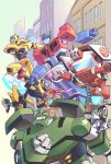 1girl autobot bulkhead bumblebee clenched_hands dog energy_axe from_side highres jazz_(transformers) lantana0_0 mecha one_eye_closed open_mouth optimus_prime ratchet redhead sari_sumdac transformers transformers_animated twintails visor younger