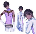 1boy arjuna_(fate/grand_order) bangs bare_shoulders black_eyes black_hair bonzon_e collage dark_skin dark_skinned_male elbow_gloves eyebrows_visible_through_hair fate/grand_order fate_(series) food from_side gloves hair_between_eyes hand_on_own_chin jewelry long_sleeves looking_at_viewer looking_to_the_side male_focus necklace pants pocky side_cutout sleeveless toned toned_male upper_body white_background white_gloves white_pants