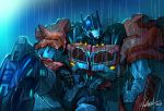 autobot blue_eyes hand_on_own_thigh joints kim_yura_(goddess_mechanic) looking_to_the_side mecha no_humans optimus_prime rain robot_joints sitting solo transformers transformers_prime