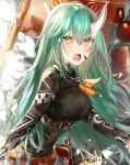 1girl absurdres arknights bangs blush breasts commentary fangs green_hair hair_between_eyes highres horn horns hoshiguma_(arknights) kanniepan large_breasts long_hair long_sleeves looking_at_viewer open_mouth orange_ribbon ribbon shirt solo upper_body yellow_eyes