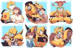 2girls 4boys autobot blue_eyes brown_eyes brown_hair bumblebee bumblebee_(film) charlie_watson computer crossed_arms hood hoodie hug insignia laptop looking_at_another looking_down looking_up mecha mijinkotail029 multiple_boys multiple_girls multiple_persona one_eye_closed pointing rafael_esquivel red_eyes redhead robot russell_clay sam_witwicky sari_sumdac sitting_on_shoulder spike_witwicky transformers transformers:_robots_in_disguise_(2015) transformers_animated transformers_prime twintails