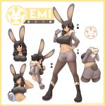 1girl abs absurdres animal_ears artist_name ass bangs black_footwear black_legwear boots bottle breasts bunny_girl bunny_tail character_name closed_eyes closed_mouth collarbone crop_top emi_(fizintine) eyebrows_visible_through_hair facing_viewer fizintine full_body fur-trimmed_jacket fur_trim hand_on_hip highres holding holding_bottle jacket large_breasts long_sleeves looking_at_viewer looking_away mechanical_arm open_mouth original pantyhose pointing pointing_at_self rabbit_ears short_hair short_shorts shorts smile solo swept_bangs tail tall_female tan upper_body water_bottle