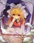 1girl black_headwear black_neckwear black_vest blonde_hair book braid branch commentary_request cup hand_up hat highres holding holding_quill indoors kirisame_marisa long_hair long_sleeves neck_ribbon quill reading red_scarf ribbon scarf shirt shoudoku_taishi_(taishi) single_braid sitting snow solo thinking touhou vest white_shirt window winter witch_hat yellow_eyes