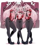 3girls :d animal_ears arms_behind_back bikini black_bikini black_footwear black_neckwear black_pants boots breasts cerberus_(helltaker) clenched_teeth commentary_request demon_girl demon_tail dog_ears dog_girl fang fangs full_body helltaker highres large_breasts long_hair looking_at_viewer micro_bikini multiple_girls nac000 navel necktie open_mouth pants red_eyes red_shirt sharp_teeth shirt smile standing swimsuit tail teeth white_hair