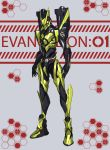 3ok absurdres character_name crossover eva_01 fusion highres kamen_rider kamen_rider_01_(series) kamen_rider_zero-one mecha neon_genesis_evangelion no_humans open_hands orange_eyes robot sign solo standing warning_sign