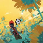 1boy a-shacho absurdres bodysuit dutch_angle field flower flower_field highres hood hoodie huge_filesize jacket leaf male_focus miles_morales solo spider-man:_into_the_spider-verse spider-man_(miles_morales) spider-man_(series) sun sunflower yellow_background yellow_sky