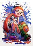 1girl gun headphones highres holding holding_gun holding_weapon ink_tank_(splatoon) inkling kuroi_susumu orange_eyes orange_hair paint_splatter shoes sitting smile sneakers splatoon_(series) splattershot_(splatoon) tentacle_hair weapon