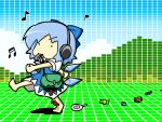 ._. 1girl bag barefoot blouse blue_dress blue_hair blue_ribbon candy child cirno clenched_hands collared_shirt dress eyebrows eyebrows_visible_through_hair falling food headphones ice ice_wings musical_note pon_(0737) red_neckwear ribbon satchel shirt short_hair solo touhou walking whistle wings