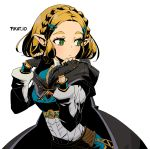 1girl :< artist_name black_cape black_gloves blonde_hair blush braid breasts bright_pupils cape closed_mouth commentary crown_braid english_commentary fingerless_gloves forehead gem gloves green_eyes hair_ornament hairclip hood hood_down hooded_cape long_sleeves looking_back medium_breasts pikat pointy_ears princess_zelda puffy_long_sleeves puffy_sleeves short_hair sidelocks solo the_legend_of_zelda the_legend_of_zelda:_breath_of_the_wild the_legend_of_zelda:_breath_of_the_wild_2 triforce upper_body