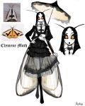 1girl absurdres antennae artist_name black_dress black_hair black_lipstick black_sclera commentary crossed_legs dress english_commentary extra_arms gothic_lolita hand_on_hip highres insect_girl juliet_sleeves lipstick lolita_fashion long_hair long_sleeves looking_at_viewer makeup matilda_fiship monster_girl moth_girl moth_wings original parasol personification photo-referenced puffy_sleeves reference_photo_inset see-through simple_background skirt_hold umbrella watson_cross white_background white_skin wings yellow_eyes