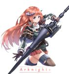 1girl arknights bagpipe_(arknights) belt black_capelet black_gloves black_vest blue_eyes breasts brown_legwear capelet chinese_commentary closed_mouth commentary copyright_name cowboy_shot dragon_horns eyebrows_visible_through_hair floating_hair gloves green_jacket gunlance highres holding holding_lance holding_weapon horns jacket lance long_hair looking_at_viewer medium_breasts miniskirt mr._coffeefeefeefeefeefeewasabi orange_hair plaid plaid_skirt polearm red_skirt shirt simple_background skirt smile solo straight_hair thigh-highs thighs vest weapon white_background white_shirt wing_collar