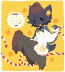 10r_(tulipano) 2017 androgynous animal_ears black_fur black_hair blue_eyes blush claw_pose claws commentary_request copyright_request dated food fruit full_body hair_between_eyes happy_new_year looking_at_viewer mandarin_orange new_year short_hair simple_background tail translated white_fur yellow_background