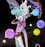 1boy abs arjuna_alter bangs bare_shoulders bonzon_e chest earth fate/grand_order fate_(series) floating_hair from_side gloves glowing glowing_horn gradient gradient_hair hair_between_eyes jupiter_(planet) male_focus mars_(planet) mercury_(planet) multicolored_hair navel neptune_(planet) open_mouth planet planetary_ring saturn_(planet) shirtless sky solo space sphere star_(sky) starry_sky tail upper_body uranus_(planet) vambraces venus_(planet) white_hair