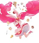 1girl animal_ears bunny_girl cake_hair_ornament cupcake cure_whip dessert doughnut dress earrings food food_themed_hair_ornament fork fruit gloves hair_ornament highres jewelry kirakira_precure_a_la_mode long_hair macaron magical_girl parfait pastry pie pink_hair pom_pom_earrings precure rabbit rabbit_ears skirt solo spoon strawberry twintails usami_ichika white_background yukiumisaka