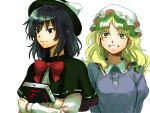 2girls bangs black_capelet black_eyes black_hair black_headwear blonde_hair book bow bowtie breasts capelet closed_mouth commentary_request dress eyebrows_visible_through_hair grin hat hat_bow holding holding_book juliet_sleeves kuya_(hey36253625) long_hair long_sleeves looking_ahead looking_at_viewer maribel_hearn medium_breasts medium_hair mob_cap multiple_girls parted_bangs puffy_sleeves purple_dress red_bow red_neckwear shirt simple_background smile touhou upper_body usami_renko white_background white_bow white_headwear white_shirt yellow_eyes