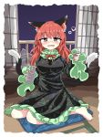 1girl alcohol alternate_hairstyle animal_ears bare_legs black_dress blue_carpet bubble cat_ears chups dress drunk extra_ears eyebrows_visible_through_hair frilled_dress frills green_frills highres kaenbyou_rin long_sleeves multiple_tails red_eyes red_nails red_neckwear redhead shrine tail touhou two_tails