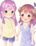 2girls :d bangs bare_arms bare_shoulders beige_background blue_dress blue_shorts blush brown_eyes brown_hair chiyoda_momo closed_mouth clothes_writing commentary_request curled_horns demon_girl demon_horns demon_tail dress english_text eyebrows_visible_through_hair fang green_eyes hair_ornament hairclip holding_hands horns long_hair machikado_mazoku multiple_girls open_mouth pink_hair polka_dot polka_dot_dress pu-en shirt short_shorts short_sleeves shorts simple_background sleeveless sleeveless_dress sleeveless_shirt smile tail tail_raised white_shirt yellow_shirt yoshida_yuuko_(machikado_mazoku) younger