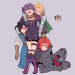 2boys 2girls armor bernadetta_von_varley bike_shorts black_hair blonde_hair brown_gloves cape closed_eyes dress earrings felix_hugo_fraldarius fire_emblem fire_emblem:_three_houses fur_trim gloves green_cape grey_background hair_ornament highres ingrid_brandl_galatea jewelry long_sleeves multiple_boys multiple_girls noshima open_mouth purple_hair redhead short_dress short_hair simple_background sylvain_jose_gautier thigh_strap