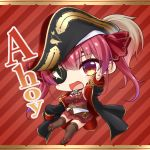 1girl :d bangs bare_shoulders bicorne black_headwear black_jacket blush boots breasts brown_footwear brown_legwear catchphrase chibi commentary_request covered_navel diagonal_stripes epaulettes eyebrows_visible_through_hair eyepatch full_body hair_between_eyes hair_ribbon hat hololive houshou_marine jacket long_hair long_sleeves looking_at_viewer medium_breasts open_clothes open_jacket open_mouth outstretched_arm pleated_skirt pointing red_background red_eyes red_ribbon red_shirt red_skirt redhead ribbon shachoo. shirt skirt sleeveless sleeveless_shirt sleeves_past_fingers sleeves_past_wrists smile solo striped striped_background thigh-highs thighhighs_under_boots twintails virtual_youtuber