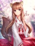 1girl alternate_costume animal_ear_fluff animal_ears artist_name bangs blurry blurry_background brown_hair collarbone eyebrows_visible_through_hair flower gigamessy hair_tubes hakama hakama_skirt holding holding_flower japanese_clothes long_hair miko patreon_username pink_eyes raccoon_ears raccoon_girl raccoon_tail raphtalia red_hakama sitting smile solo tail tail_wagging tate_no_yuusha_no_nariagari wide_sleeves