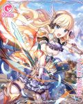 1girl bangs black_bow blonde_hair blue_eyes blush bow breasts elf eyebrows_visible_through_hair hair_bow long_hair looking_at_viewer official_art open_mouth pointy_ears princess_connect! princess_connect!_re:dive saren_(princess_connect!) solo