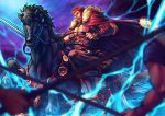 1boy arm_armor armor bara beard black_hair bucephalus cape carousel chest cleavage_cutout facial_hair fate/grand_order fate/zero fate_(series) fighting_stance from_side full_body fur_trim holding horse horseback_riding iskandar_(fate) leather lightning looking_at_viewer ma2910ko male_focus muscle pectorals red_cape red_eyes redhead riding sandals sky soldier solo_focus sword weapon