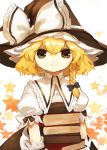 1girl absurdres apron back_bow black_dress black_headwear blonde_hair blue_bow book book_stack bow braid commentary_request dress hair_bow hat hat_bow highres holding holding_book kirisame_marisa looking_at_viewer puffy_short_sleeves puffy_sleeves shirt short_hair short_sleeves shoudoku_taishi_(taishi) single_braid smile solo star_(symbol) starry_background touhou waist_apron white_background white_bow white_shirt witch_hat wrist_cuffs yellow_eyes