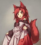 1girl animal_ear_fluff animal_ears blush brooch brown_hair cowboy_shot dress english_commentary fang imaizumi_kagerou jewelry lirilias long_hair long_sleeves looking_at_viewer off-shoulder_dress off_shoulder open_mouth red_nails solo tail touhou werewolf white_dress wolf_ears wolf_tail yellow_eyes