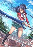 1girl absurdly_long_hair adsouto blue_hair boots breasts commentary eiyuu_densetsu highres holding holding_sword holding_weapon laura_s._arzeid long_hair long_sleeves looking_at_viewer medium_breasts ponytail ribbon sen_no_kiseki shirt sword thigh-highs very_long_hair weapon yellow_eyes