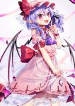 1girl :d ascot bat_wings fangs gunjou_row hat highres index_finger_raised long_hair looking_at_viewer mob_cap nail_polish open_mouth pink_headwear pink_skirt pointy_ears purple_hair purple_neckwear red_eyes red_nails remilia_scarlet short_sleeves skirt slit_pupils smile solo teeth touhou wings wrist_cuffs