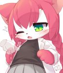 1girl animal_ears animal_nose blush cat cat_busters cat_ears cat_girl commentary_request covered_nipples dated disembodied_limb furry green_eyes grey_skirt hair_between_eyes mizuki_kotora neko_hakase_(cat_busters) one_eye_closed open_mouth pawpads pink_fur pink_hair pleated_skirt signature skirt slit_pupils solo twintails two-tone_fur upper_body whiskers white_fur