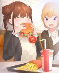 2girls bacon bangs blush brown_hair closed_eyes commentary_request cup disposable_cup drinking_straw eating eyebrows_visible_through_hair food french_fries hamburger highres holding holding_food idolmaster idolmaster_shiny_colors lettuce multiple_girls raised_eyebrows saijou_juri shiny shiny_hair short_hair sitting sonoda_chiyoko takeroku tomato tray uniform violet_eyes
