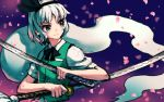 1girl black_hairband black_neckwear black_ribbon cherry_blossoms commentary_request dual_wielding green_vest hair_ribbon hairband holding holding_sword holding_weapon katana konpaku_youmu konpaku_youmu_(ghost) meimaru_inuchiyo neck_ribbon petals purple_background ribbon shirt short_hair short_sleeves solo sword tassel touhou upper_body vest weapon white_hair white_shirt