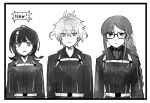 1boy 2girls ahoge black_border border braid consort_yu_(fate) earrings fate/apocrypha fate/grand_order fate/requiem fate_(series) fuyumizaka glasses greyscale jewelry monochrome multiple_girls polar_chaldea_uniform sieg_(fate/apocrypha) smile sweatdrop utsumi_erise