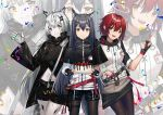 3girls :d animal_ear_fluff animal_ears antenna_hair arknights bangs belt black_belt black_capelet black_gloves black_hair black_jacket black_legwear black_shorts black_skirt brown_eyes cake capelet commentary_request confetti cowboy_shot exusiai_(arknights) fingerless_gloves food fruit gloves grey_eyes grey_gloves hair_between_eyes hair_ornament hairclip hand_up high_collar highres holding holding_plate id_card jacket lappland_(arknights) long_hair long_sleeves looking_at_viewer miniskirt multiple_girls navel open_mouth ore_lesion_(arknights) pantyhose plate raglan_sleeves red_belt redhead short_hair short_shorts shorts silver_hair skirt smile standing stomach strawberry texas_(arknights) thigh_strap thighs v very_long_hair white_jacket wide_sleeves wolf_ears yuuki_mix zoom_layer