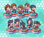 6+girls bangs black_hair blue_background blue_hair bow_(weapon) brown_hair chibi eyepatch fusou_(kantai_collection) glasses gloves hair_ornament haruna_(kantai_collection) headgear hexagon hiei_(kantai_collection) holding holding_weapon houshou_(kantai_collection) japanese_clothes kantai_collection kirishima_(kantai_collection) kongou_(kantai_collection) long_hair lowres mechanical_halo multiple_girls nontraditional_miko oobako open_mouth pixel_art polearm purple_hair ryuujou_(kantai_collection) short_hair simple_background sword tatsuta_(kantai_collection) tenryuu_(kantai_collection) twintails visor_cap weapon wide_sleeves yamashiro_(kantai_collection)